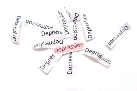 Sign depression highlighted with red marker on white, concept of sadness, apathy and low mood Imagens