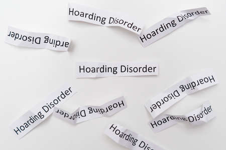 Hoarding disorder signs on white background, mental health problem when people collect different useless things and waste and bring them home
