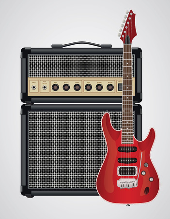 equalization: Guitar Amplifier and Electric Guitar Illustration