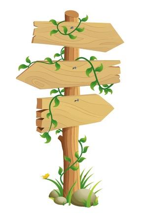 cruce de caminos: Se�al de direcci�n madera