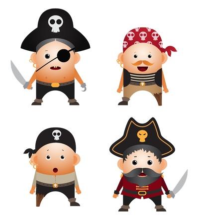 Set of cartoon pirates Illustration
