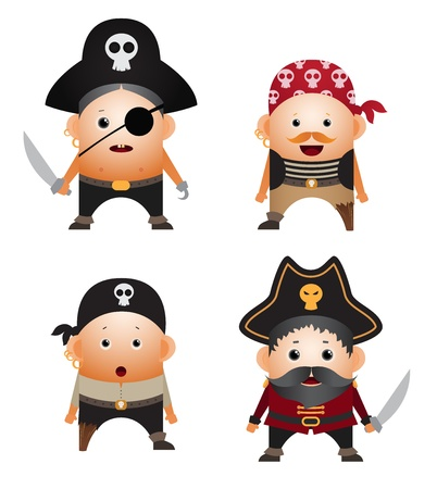 plunder: Set of cartoon pirates Illustration