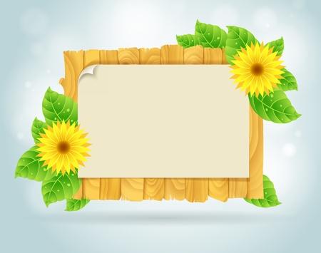 chamomile: Spring frame vector illustration