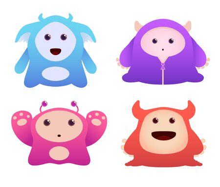 Set of Cute Vector Monsters Stock Vector - 9814650