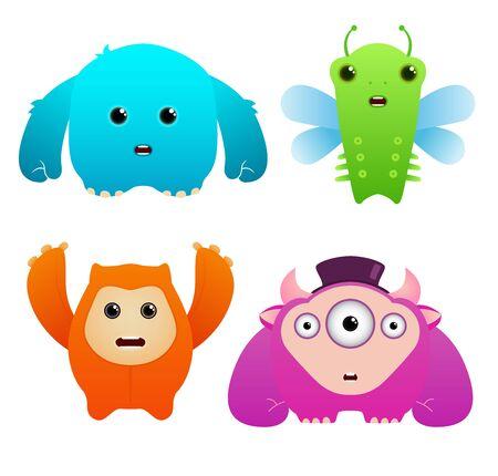 Set of Cute Vector Monsters Stock Vector - 9814643