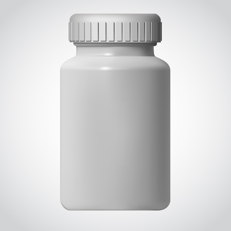 pharmaceuticals: White Pill Blank Bottle Vector Illustration