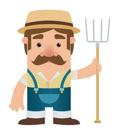agricultor: Personaje de dibujos animados Farmer
