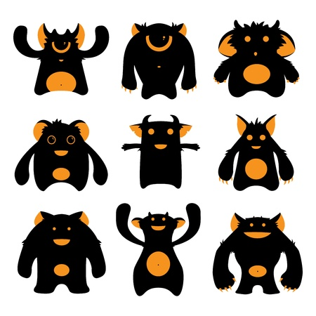Set of cartoon cute monsters silhouettes