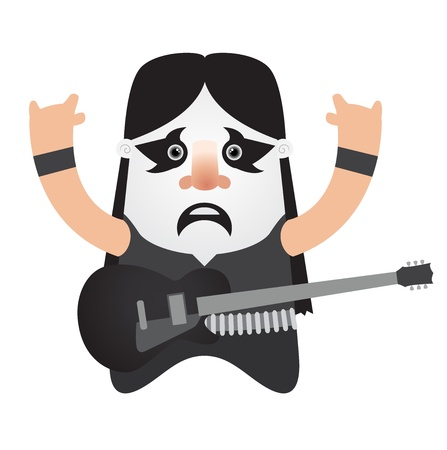 rock guitar: Black metal guitar player Illustration