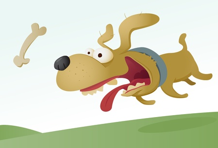 Dog chasing bone Vector