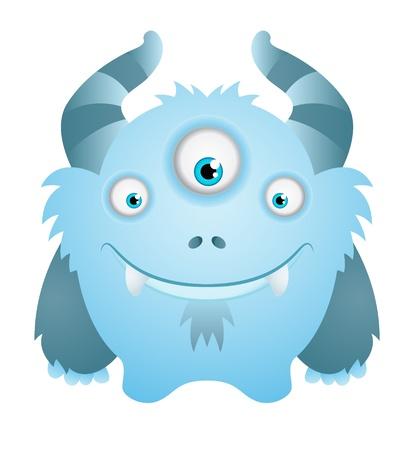 Cute Blue Monster Illustration