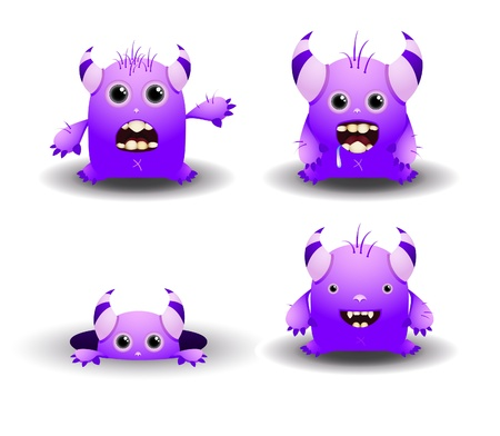 Set of cartoon monsters Vector