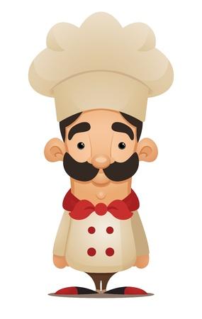 chef italiano: Chef. Personaje de dibujos animados lindo Vectores