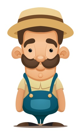 worker cartoon: Agricultor