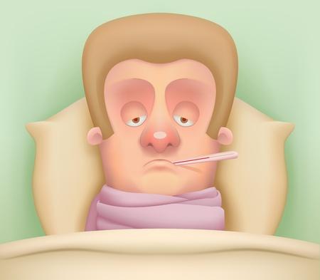 sick person: Personaje de dibujos animados por enfermedad