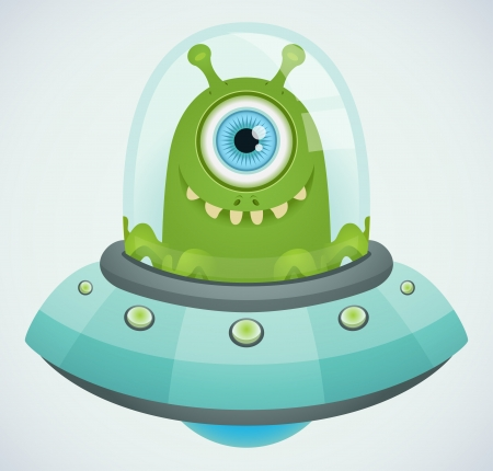 cartoon alien: Ufo. Alien. Illustration