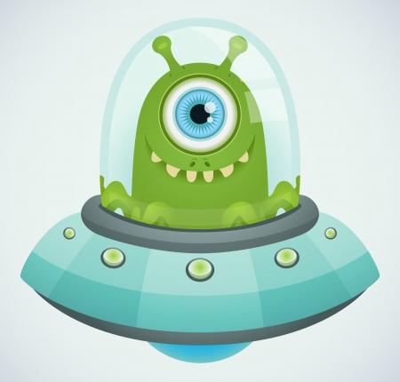 nave espacial: Ufo. Alien. Ilustra��o