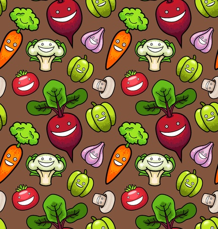 Vegetables. Seamless Pattern Vector