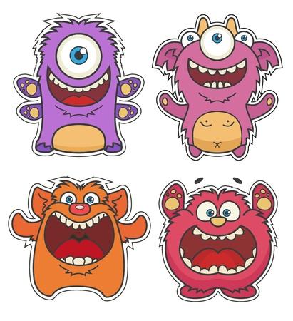 Set of Cute cartoon Monsters Illustration