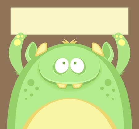 Cute Monster with Text Box Vector