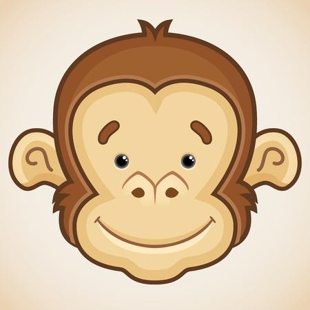mono caricatura: Cara linda del mono Vectores