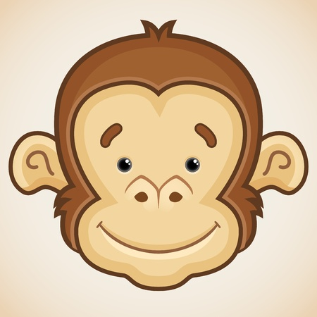 monkey face: Cute Monkey Face Illustration