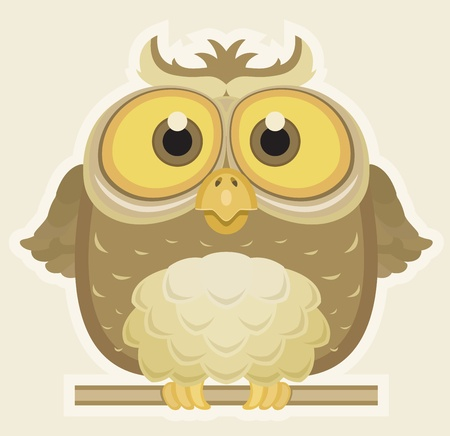 owl cartoon: Cartoon Owl Illustration