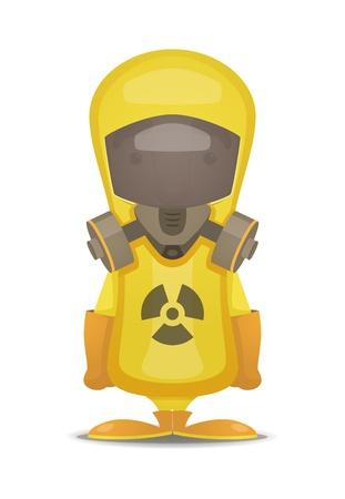 sustancias toxicas: Traje de protección radiológica Vectores