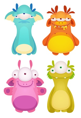 Set of Cute cartoon Monsters Stock Vector - 15732037