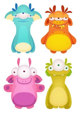 cartoon monster: Set of Cute cartoon Monsters Illustration