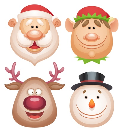 Christmas characters set - Santa, Elf, Deer, Snowman Vector
