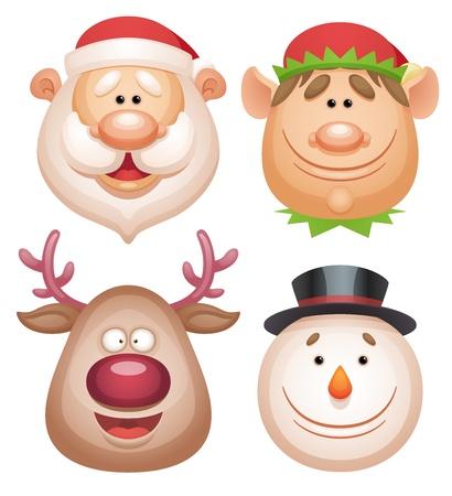 Christmas characters set - Santa, Elf, Deer, Snowman
