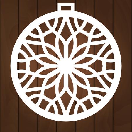 Xmas ball with snowflake for paper cutting, wood carving and christmas decorations. Vektoros illusztráció