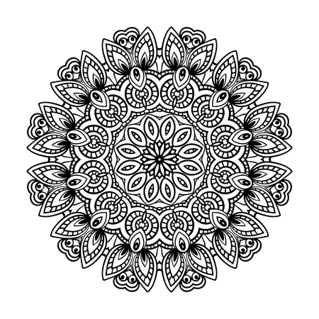 Round for coloring book pages, mandala design. Coloring page with mandala. round ornament lace pattern Vettoriali