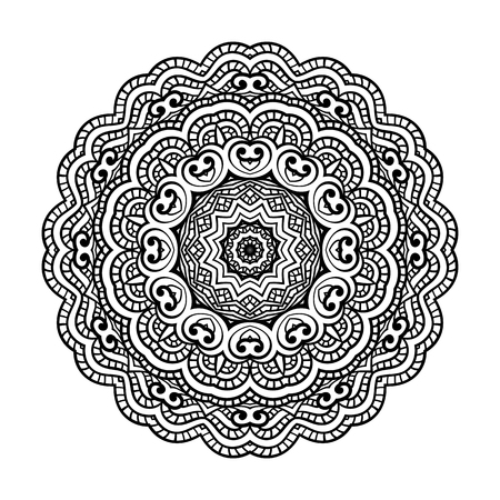 Round for coloring book pages, mandala design. Coloring page with mandala. round ornament lace pattern