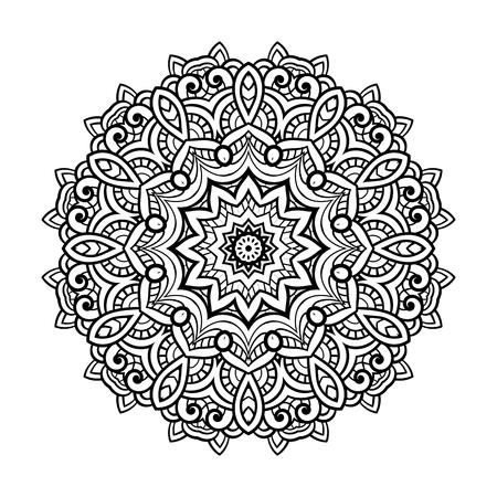 Round for coloring book pages, mandala design. Coloring page with mandala. round ornament lace pattern Vektoros illusztráció