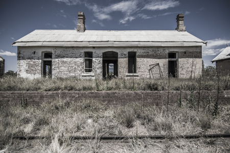 Abandoned Railway Station in the Outback  Country Stock Photo