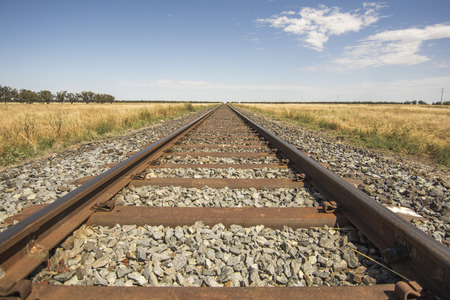 Long straight Railway in the Outback  Country