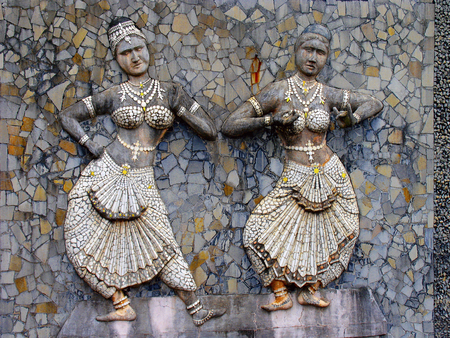 Dancers and Rock Garden, Malampuzha from Kerala, India Stock Photo