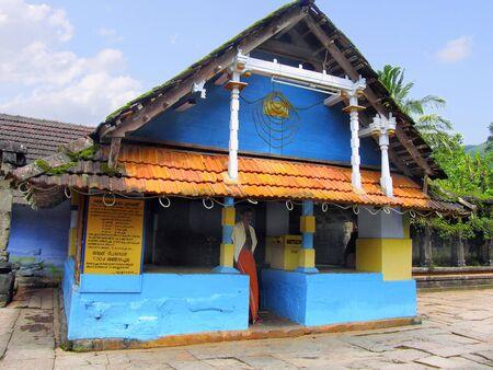 Front view, Dakshina Kashi Temple, Thirunelli, Kerala, India is an ancient temple dedicated to Lord Maha Vishnu on the side of Brahmagiri hill in Kerala.