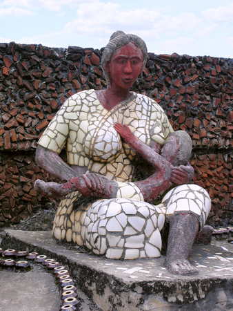 Mother and child, Rock Garden, Malampuzha, Kerala from India Stock Photo