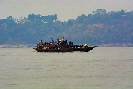 Ferry boat over bramhaputra river, Assam