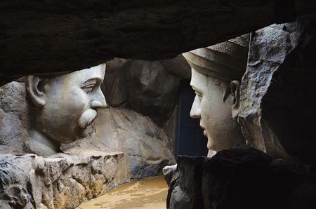 Close ups of an idols Saint Dnyaneshwar and Saint Tukaram Maharaj 免版税图像
