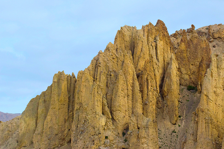 Rocky Fossiled dust colored badlands at Spiti