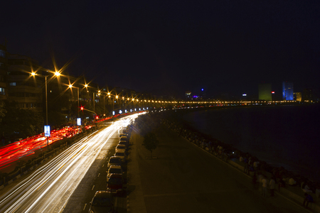 Light trail, Princess Necklace, Marine Drive, Mumbai, Maharashtra