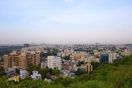 Aerial Cityscape with buildings, Pune, Maharashtra Фото со стока