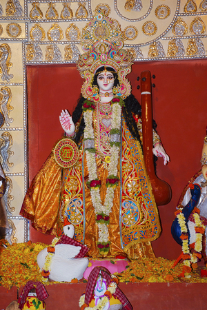 Idol of Goddess Durga. Festival is celebrated during the whole period of Navaratri for 10 days