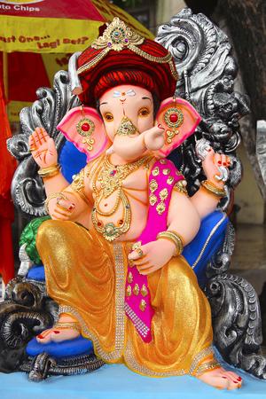 Lord Ganapati sculpture wearing Puneri Pagadi, during Ganesh Festival