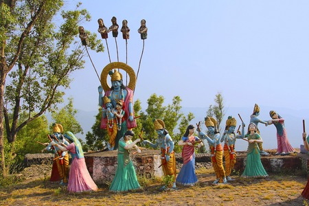 Huge statue of Lord Shri Krishna and Radha with Gopis performing raas leela, Nilkantheshwar Temple