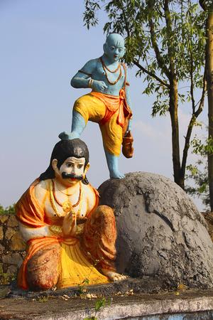 Vaman (fifth avatar of Hindu god Vishnu) holding his leg on Bali, Nilkantheshwar Temple, Panshet
